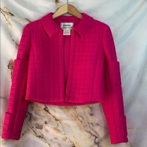 Hot Pink Chanel Quilted Bomber Jacket